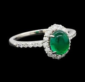1.99 ctw Emerald and Diamond Ring - Platinum