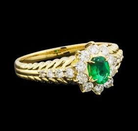 0.48 ctw Emerald and Diamond Ring - 18KT Yellow Gold