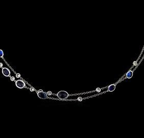 14.90 ctw Sapphire and Diamond Necklace - 14KT White