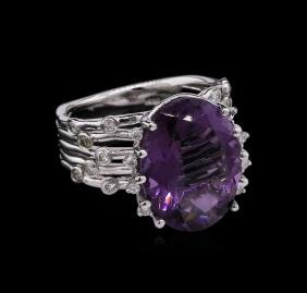 7.83 ctw Amethyst and Diamond Ring - 14KT White Gold