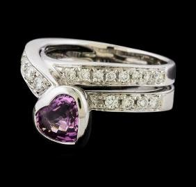 Pink Sapphire and Diamond Ring - 18KT White Gold