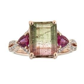 3.65 ctw Tourmaline, Rubellite, and Diamond Ring - 14KT