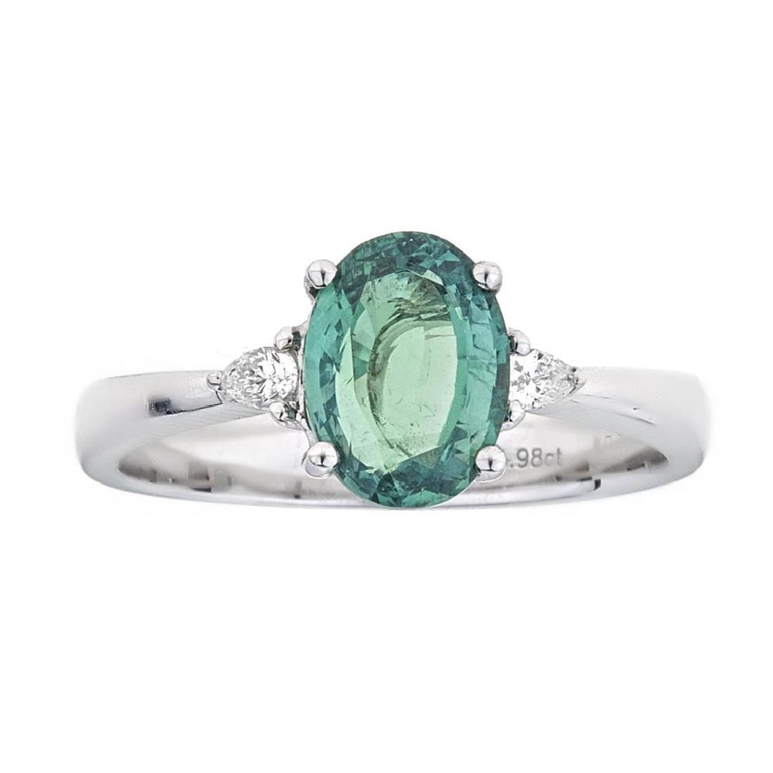 1.98 ctw Alexandrite and Diamond Ring - 18KT White Gold