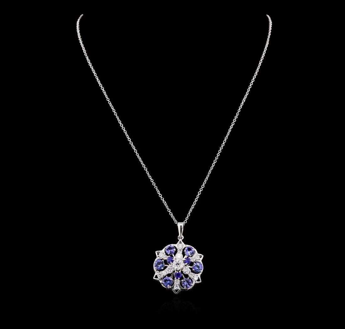 2.88 ctw Tanzanite, Sapphire and Diamond Necklace -