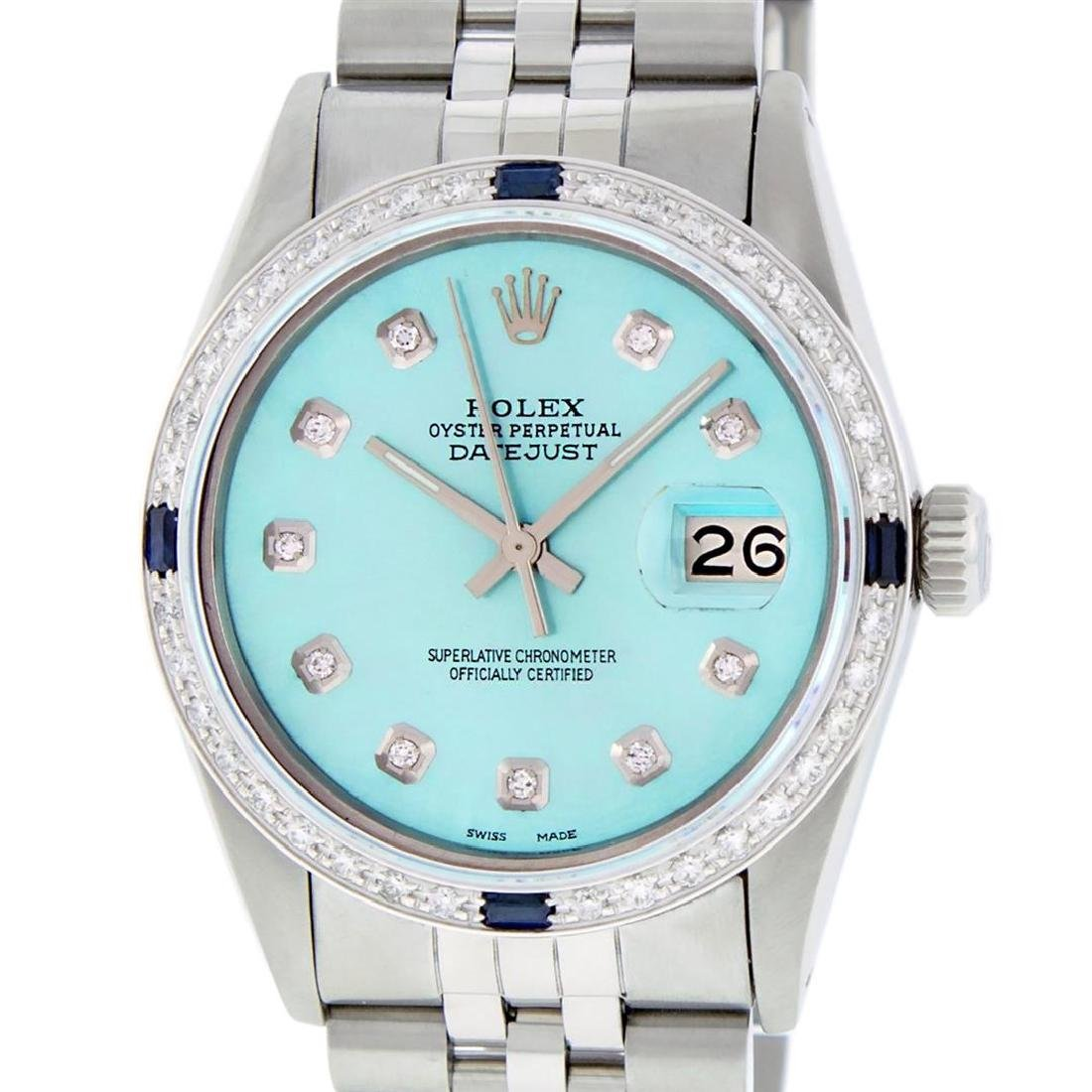 Rolex Mens SS Blue Diamond And Sapphire Datejust