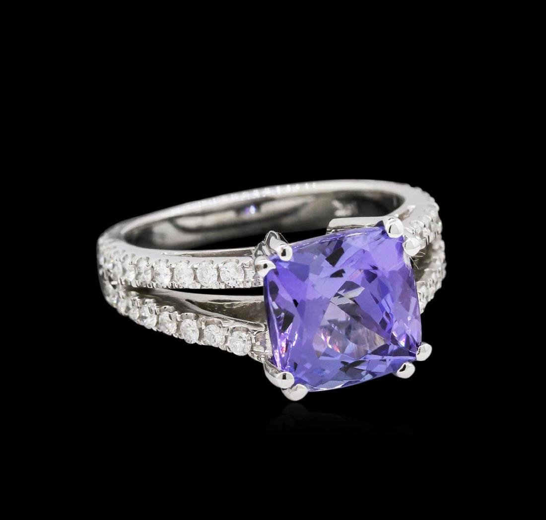 4.60 ctw Tanzanite and Diamond Ring - 14KT White Gold