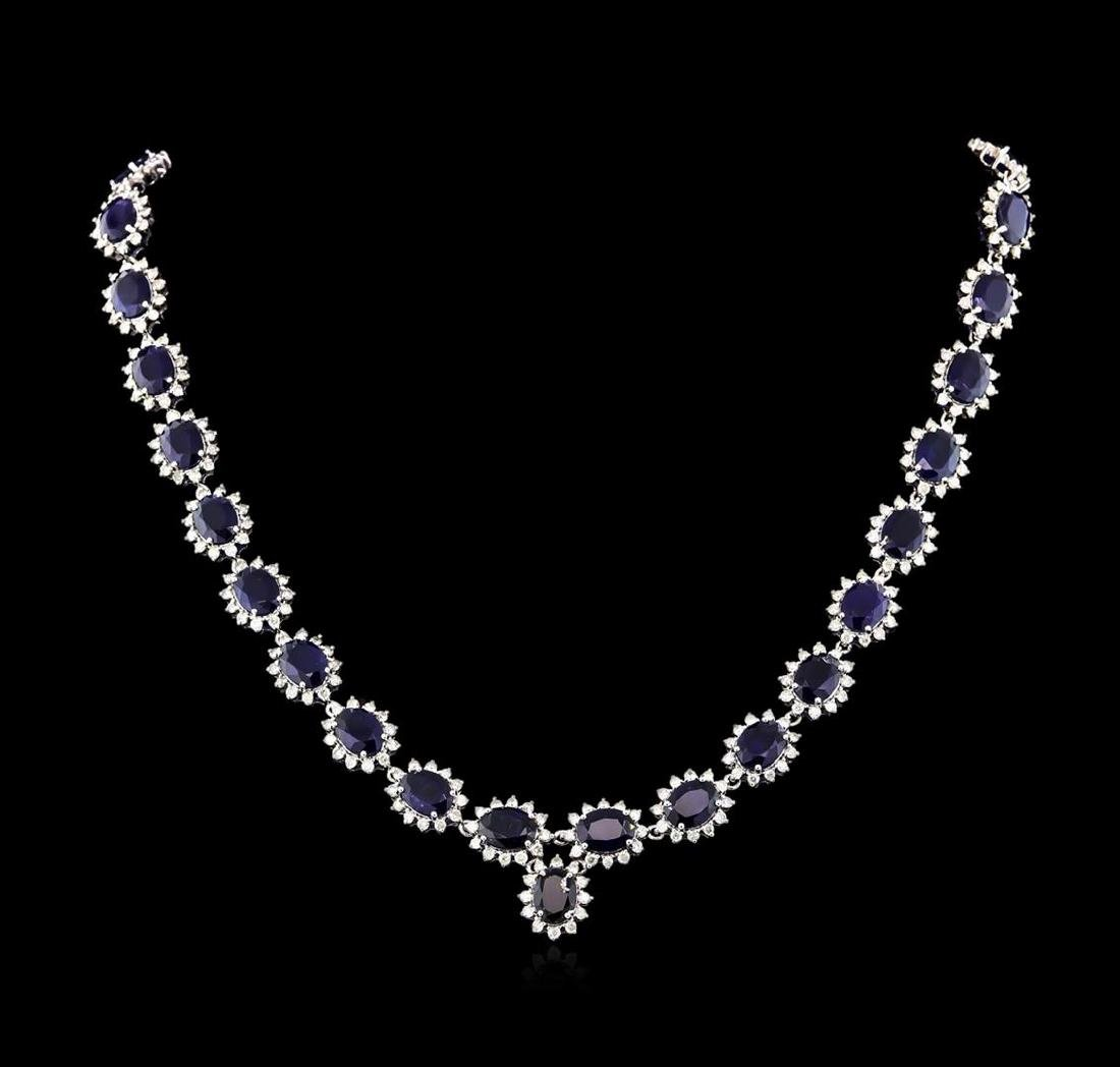 47.00 ctw Blue Sapphire and Diamond Necklace - 14KT