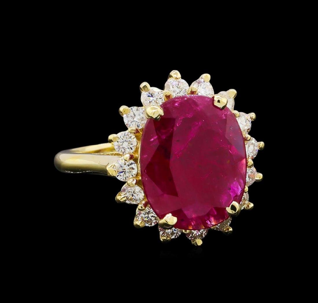 GIA Cert 5.13 ctw Ruby and Diamond Ring - 14KT Yellow