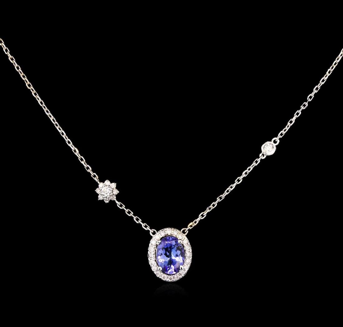 1.25 ctw Tanzanite and Diamond Necklace - 14KT White