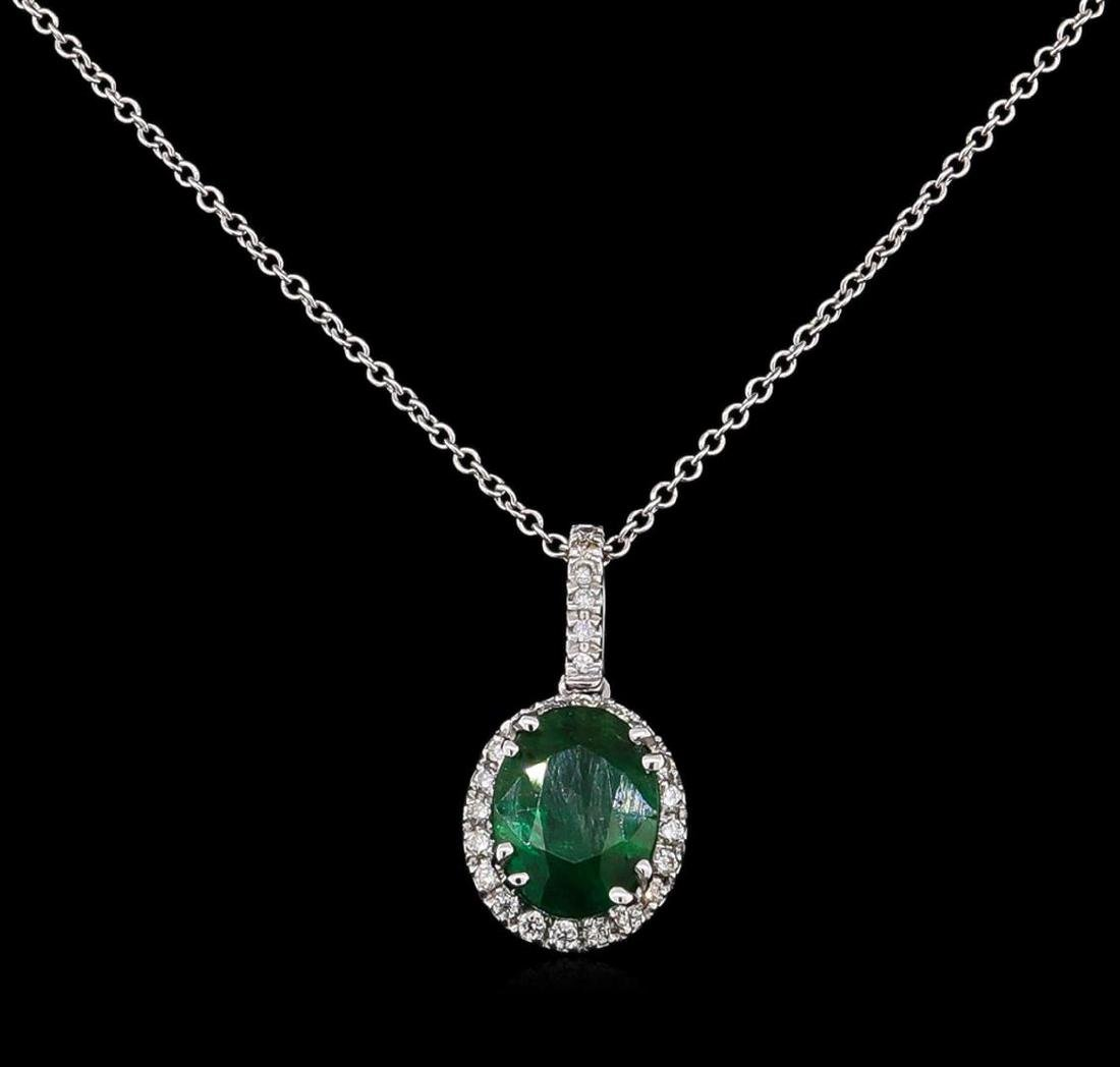 2.19 ctw Emerald and Diamond Pendant With Chain - 14KT