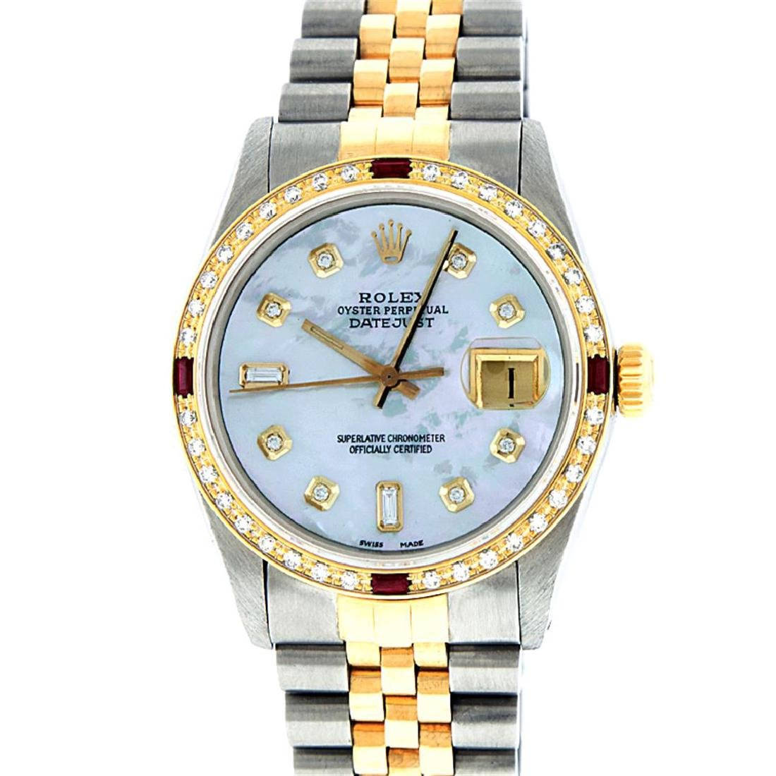 Rolex Two-Tone Mother Of Pearl Diamond and Ruby