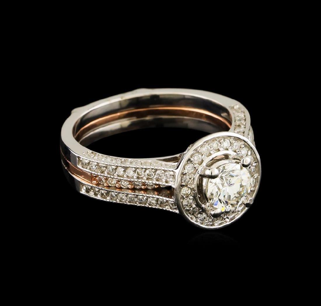 1.28 ctw Diamond Wedding Ring Set - 14KT Rose and White