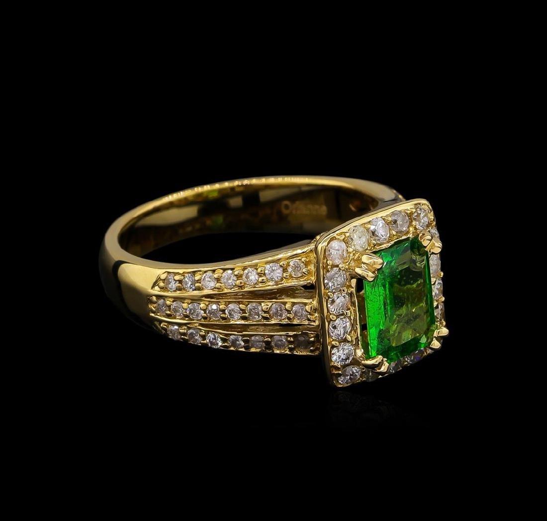 1.22 ctw Tsavorite and Diamond Ring - 14KT Yellow Gold