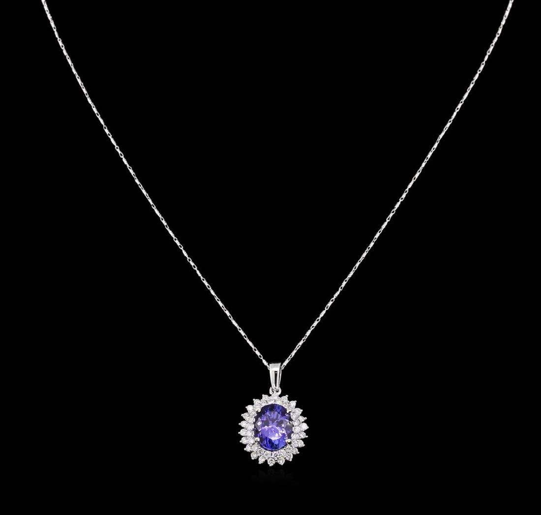 4.39 ctw Tanzanite and Diamond Pendant With Chain -