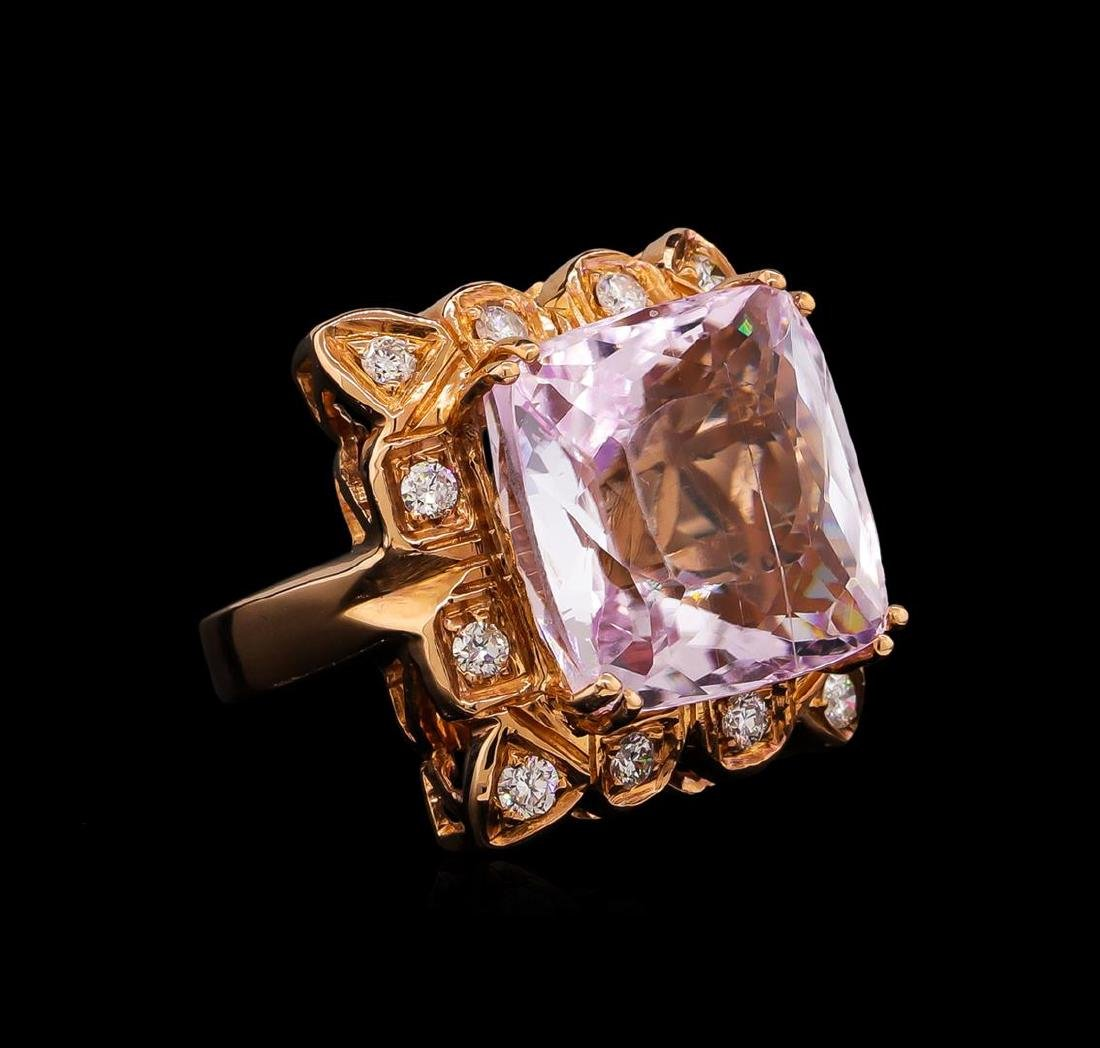 14KT Rose Gold GIA Certified 25.19 ctw Kunzite and