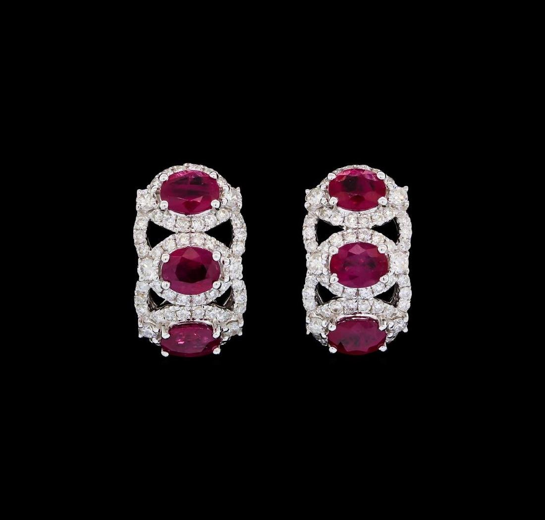 2.43 ctw Ruby and Diamond Earrings - 18KT White Gold