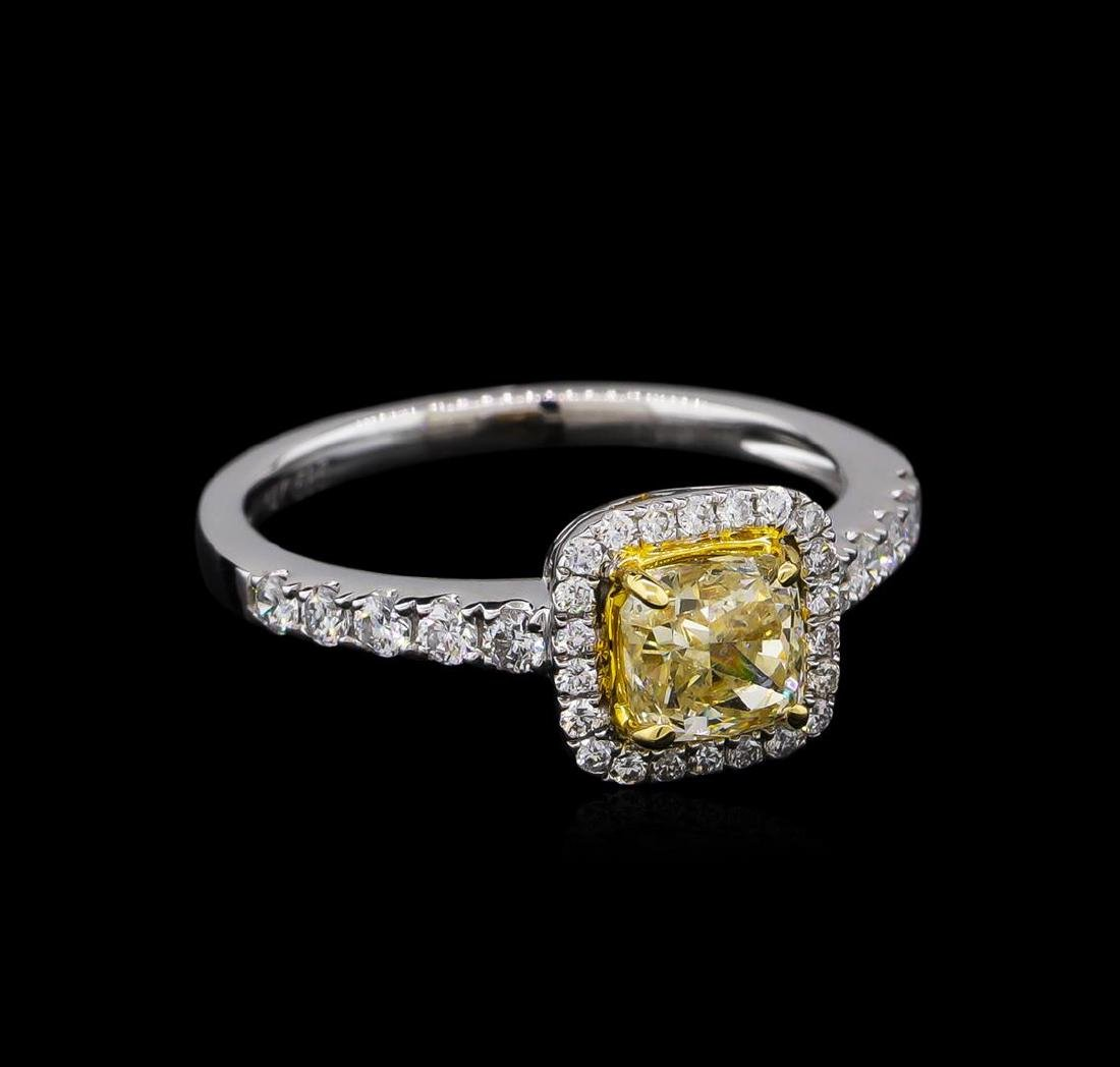 14KT White Gold 1.05 ctw SI1/Light Yellow Diamond Ring