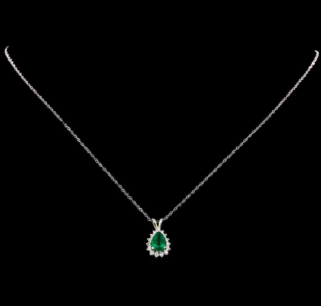 1.00 ctw Emerald and Diamond Pendant With Chain - 18KT