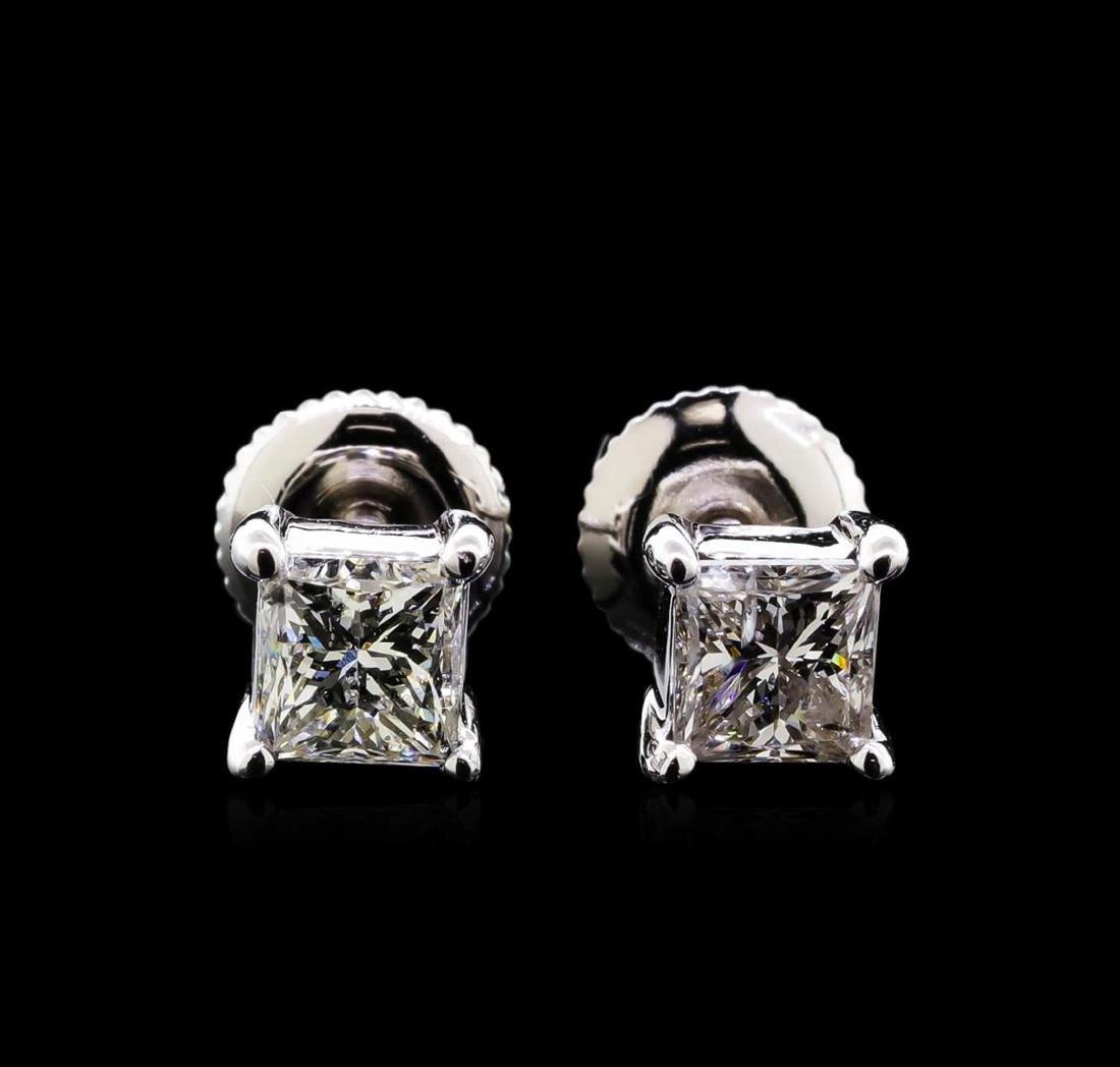 1.20 ctw Diamond Solitaire Earrings - 14KT White Gold