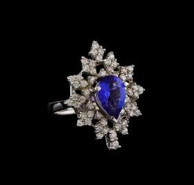 14KT White Gold 2.45 ctw Tanzanite and Diamond Ring