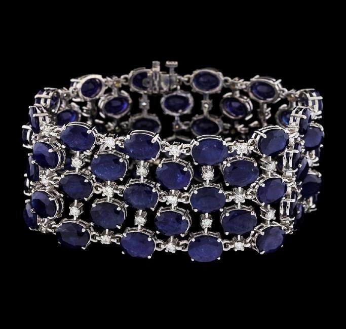 93.96 ctw Sapphire and Diamond Bracelet - 14KT White