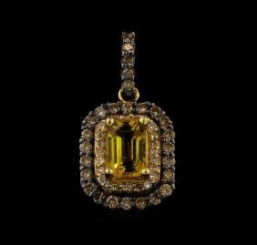 0.66 ctw Citrine and Diamond Pendant - 14KT Rose Gold