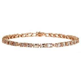 6.89 ctw Morganite and Diamond Bracelet - 14KT Rose