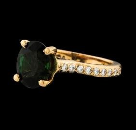 3.00 ctw Green Tourmaline and Diamond Ring - 14KT Rose
