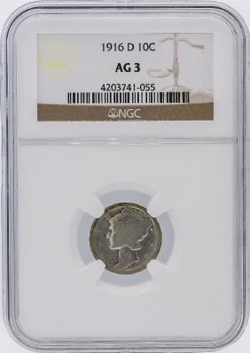 RARE 1916-D Mercury Dime NGC Graded AG3