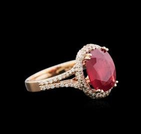 3.70 ctw Ruby and Diamond Ring - 14KT Rose Gold