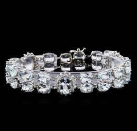40.00 ctw Aquamarine and Diamond Bracelet - 14KT White