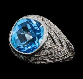 9.50 ctw Blue Topaz and Diamond Ring - 18KT White Gold