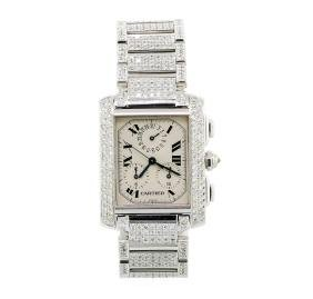 Cartier 18KT White Gold 8.26 ctw Diamond Tank Francaise