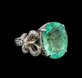 GIA Cert 8.92 ctw Emerald and Diamond Ring - 14KT White