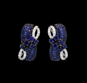 1.10 ctw Sapphire and Diamond Earrings - 14KT White
