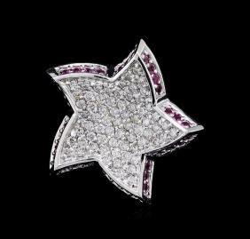 0.52 ctw Pink Sapphire and Diamond Star Pendant - 18KT