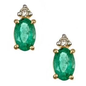 0.9 ctw Emerald and Diamond Earrings - 14KT Yellow and
