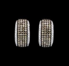 1.50 ctw Brown and White Diamond Earrings - 18KT White
