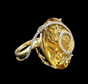 18KT Yellow Gold 41.50 ctw Citrine and Diamond Ring