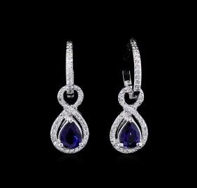 1.88 ctw Blue Sapphire and Diamond Earrings - 14KT