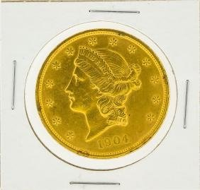 1904 $20 AU Liberty Head Double Eagle Gold Coin