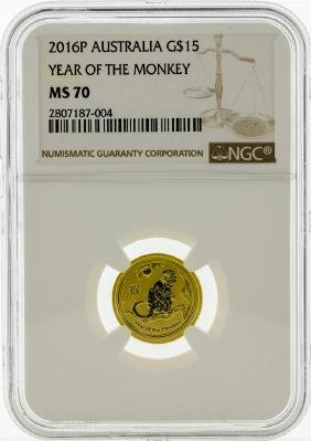 2016P NGC MS70 $15 Year Of The Monkey Gold Coin