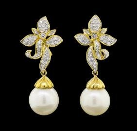 Pearl and Diamond Earrings - 18KT Yellow Gold