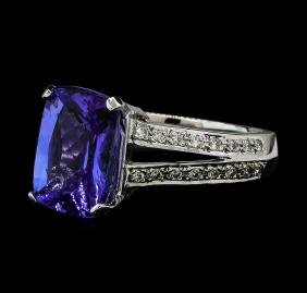 4.51 ctw Tanzanite and Diamond Ring - 14KT White Gold