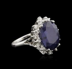 11.82 ctw Sapphire and Diamond Ring - 14KT White Gold