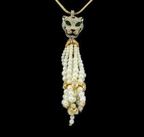 Panther Pearl Tassel Necklace - Gold Plated
