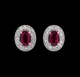 1.00 ctw Ruby and Diamond Earrings - 14KT White Gold
