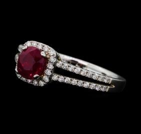 1.05 ctw Ruby and Diamond Ring - 14KT White Gold