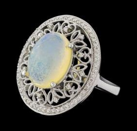 3.83 ctw Opal and Diamond Ring - 14KT White Gold
