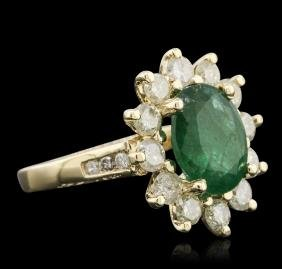 14KT Yellow Gold 3.52 ctw Emerald and Diamond Ring
